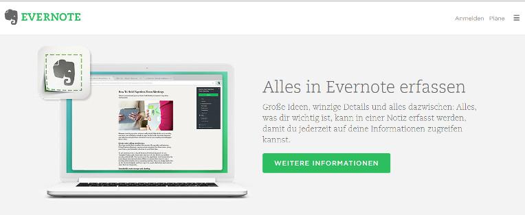 Ein kostenloser digitaler Notizzettel: Evernote.
