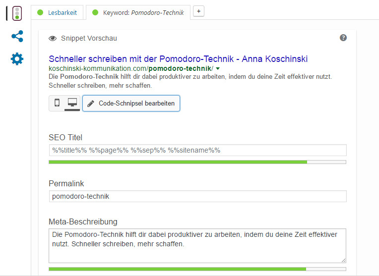 Meta-Description mit Yoast SEO editieren.