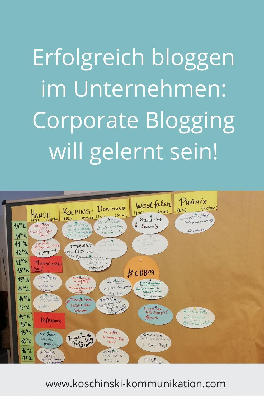 Erfolgreich bloggen im Unternehmen, Corporate Blog Barcamp 2019
